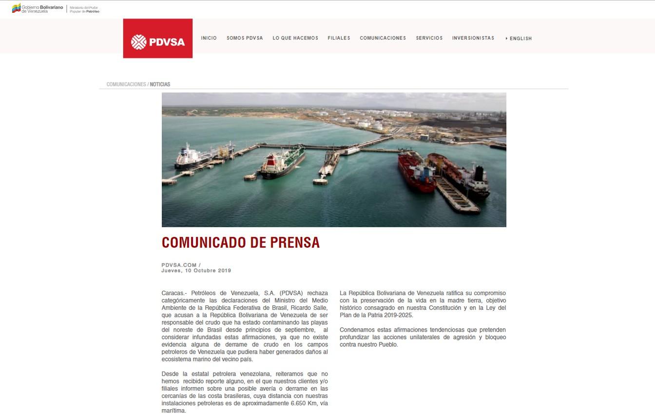 Venezuela diz que Salles é tendencioso ao culpar o país pelo óleo nas praias brasileiras