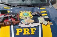 PRF prende assaltantes e recupera itens roubados na BR-324